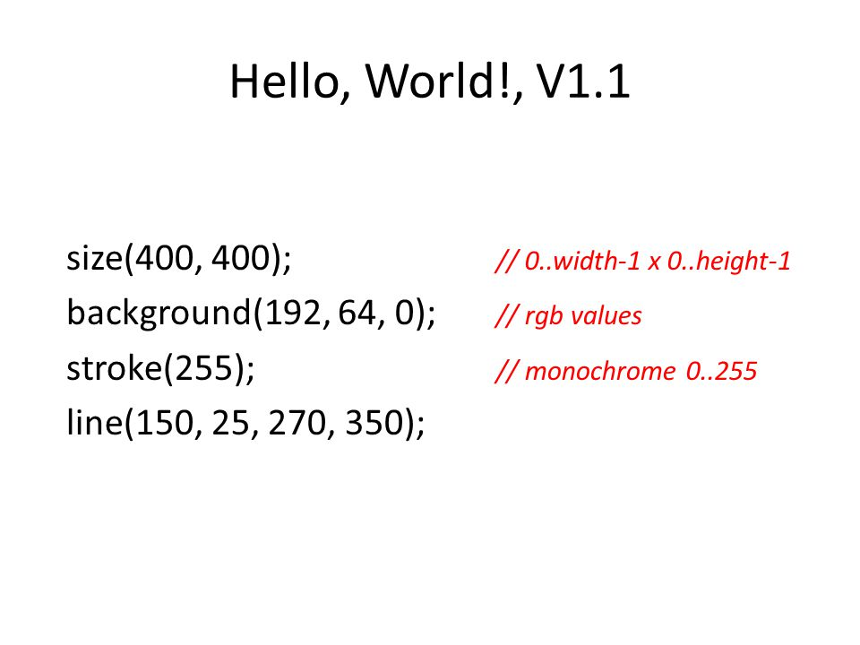 Hello, World!, V1.1