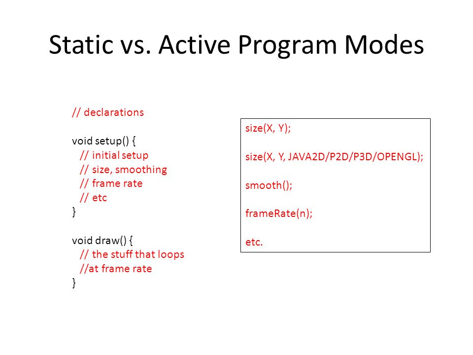 Static vs. Active Program Modes