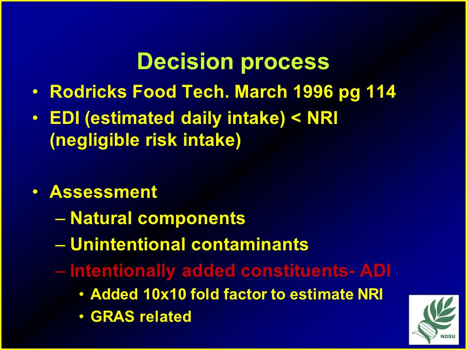 Decision process Rodricks Food Tech. March 1996 pg 114