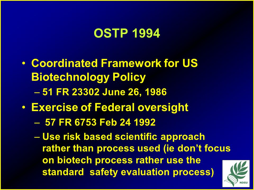 OSTP 1994 Coordinated Framework for US Biotechnology Policy
