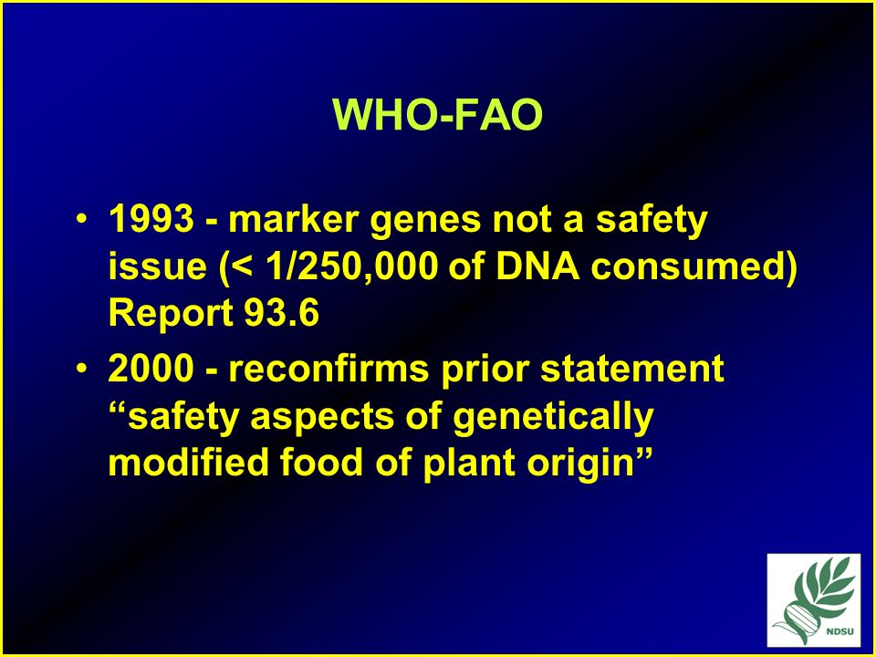 WHO-FAO1993 - marker genes not a safety issue (< 1/250,000 of DNA consumed) Report 93.6.