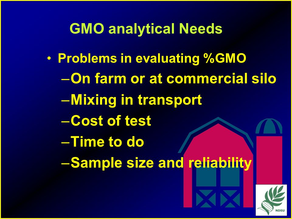 On farm or at commercial silo Mixing in transport Cost of test