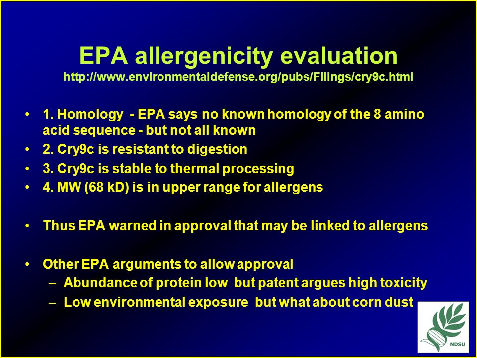 EPA allergenicity evaluation   environmentaldefense