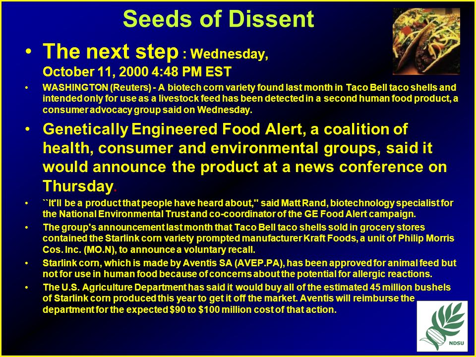 Seeds of Dissent The next step : Wednesday, October 11, :48 PM EST.