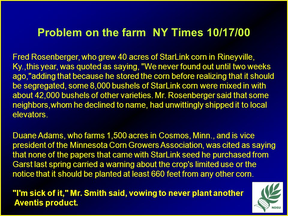 Problem on the farm NY Times 10/17/00