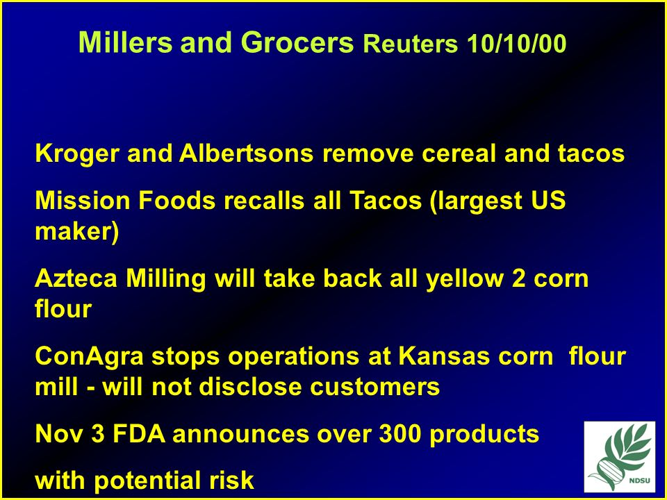 Millers and Grocers Reuters 10/10/00