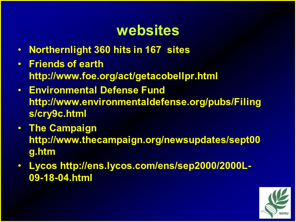 websites Northernlight 360 hits in 167 sites