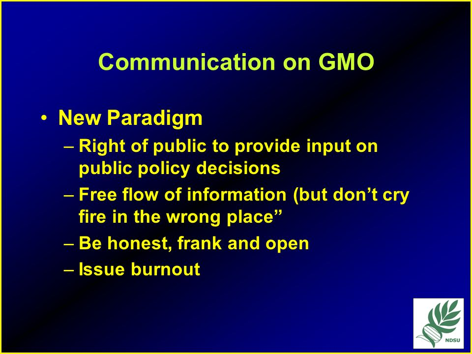 Communication on GMO New Paradigm