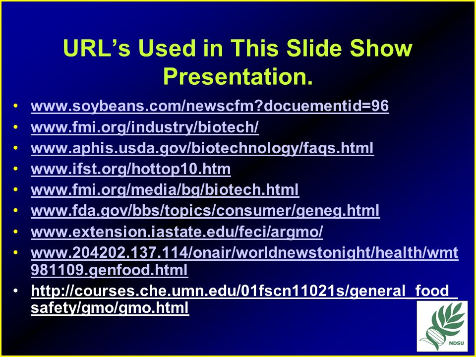 URL's Used in This Slide Show Presentation.