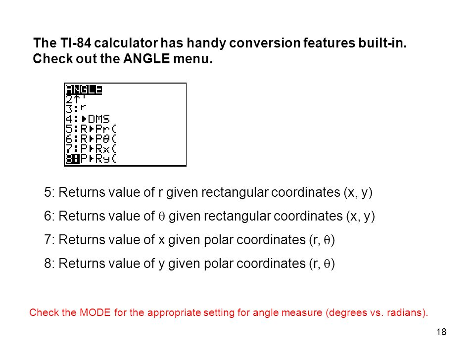 5: Returns value of r given rectangular coordinates (x, y)