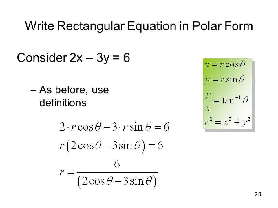 Write Rectangular Equation in Polar Form