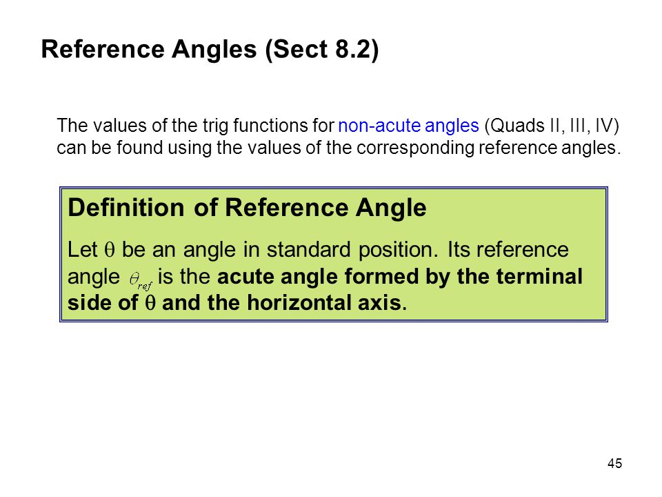 Reference Angles (Sect 8.2)