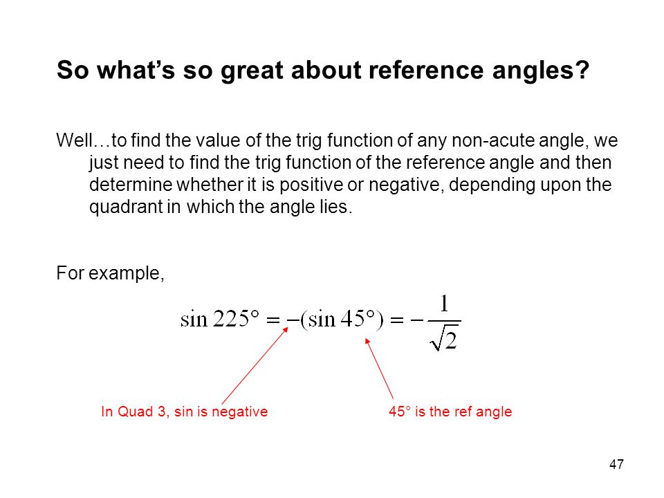 So what's so great about reference angles