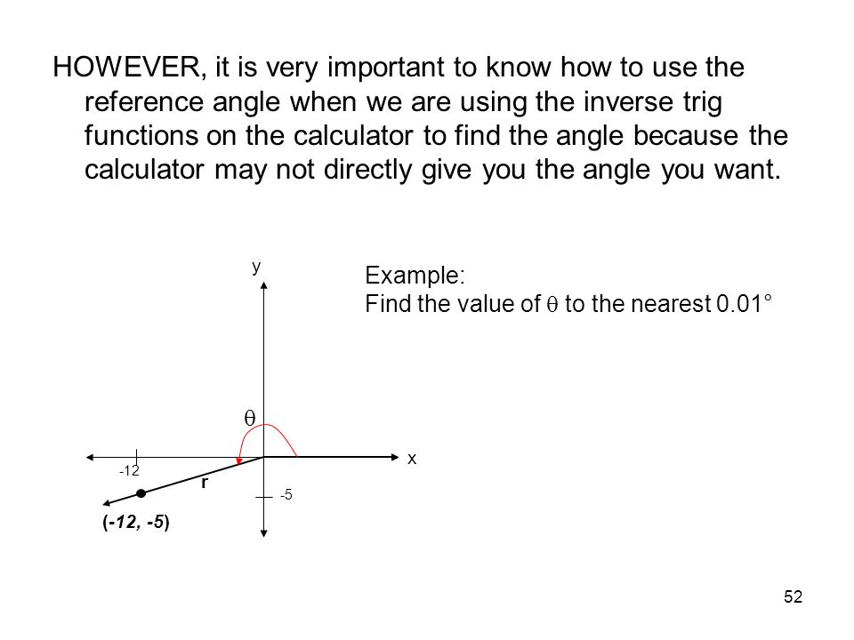 HOWEVER, it is very important to know how to use the reference angle when we are using the inverse trig functions on the calculator to find the angle because the calculator may not directly give you the angle you want.