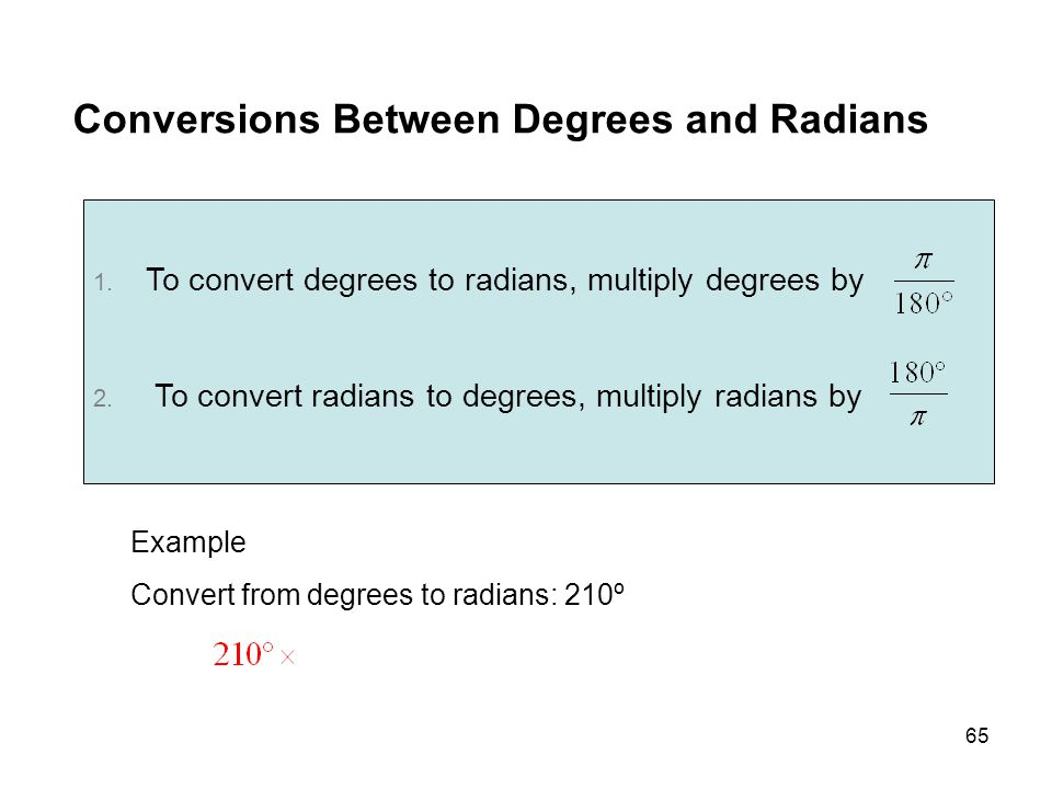 Conversions Between Degrees and Radians