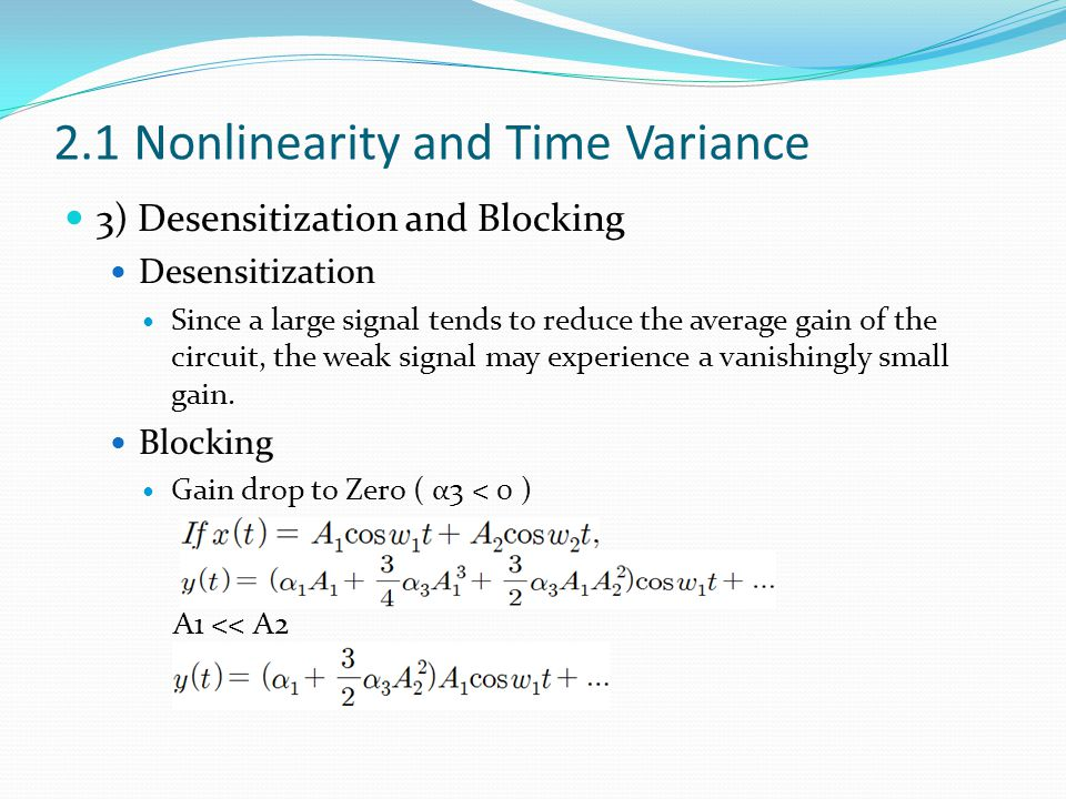 2.1 Nonlinearity and Time Variance