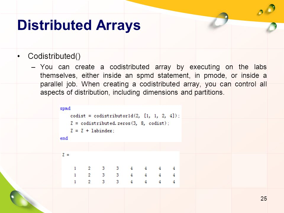 Distributed Arrays Codistributed()
