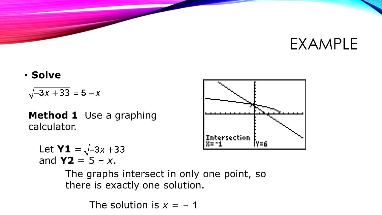 Example Solve Method 1 Use a graphing calculator.
