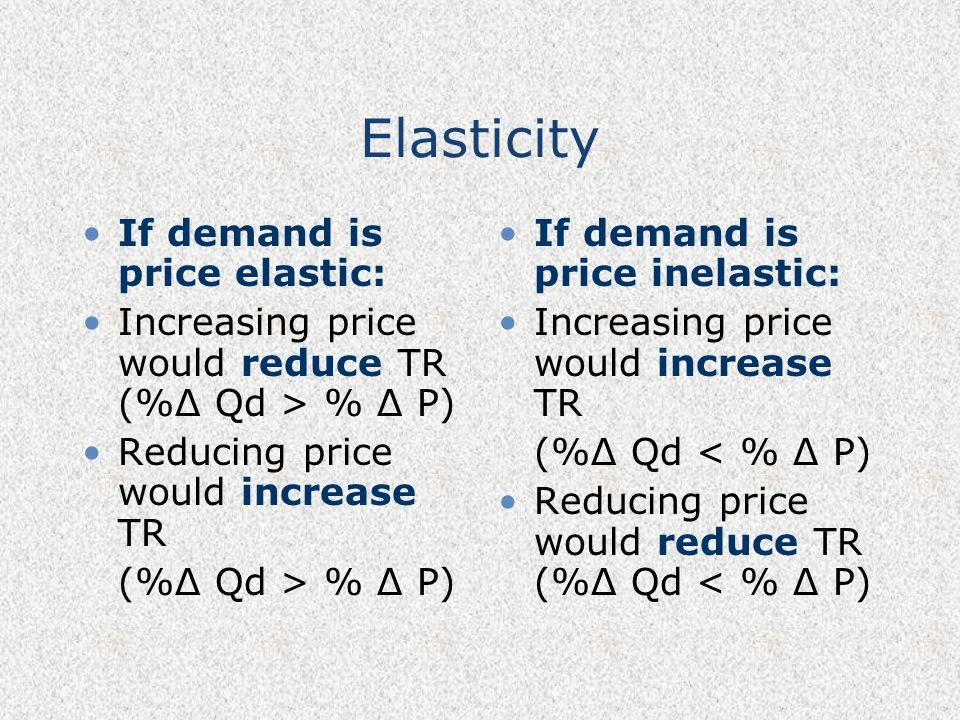 Elasticity If demand is price elastic: