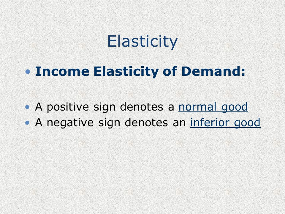 Elasticity Income Elasticity of Demand: