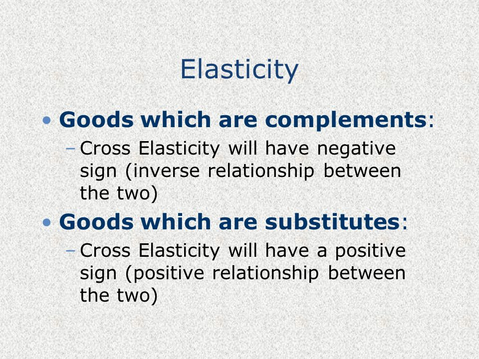 Elasticity Goods which are complements: Goods which are substitutes: