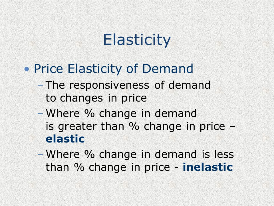 Elasticity Price Elasticity of Demand