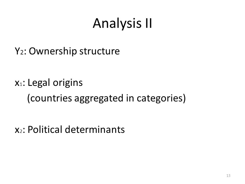 Analysis II Y2: Ownership structure x1: Legal origins (countries aggregated in categories) x2: Political determinants