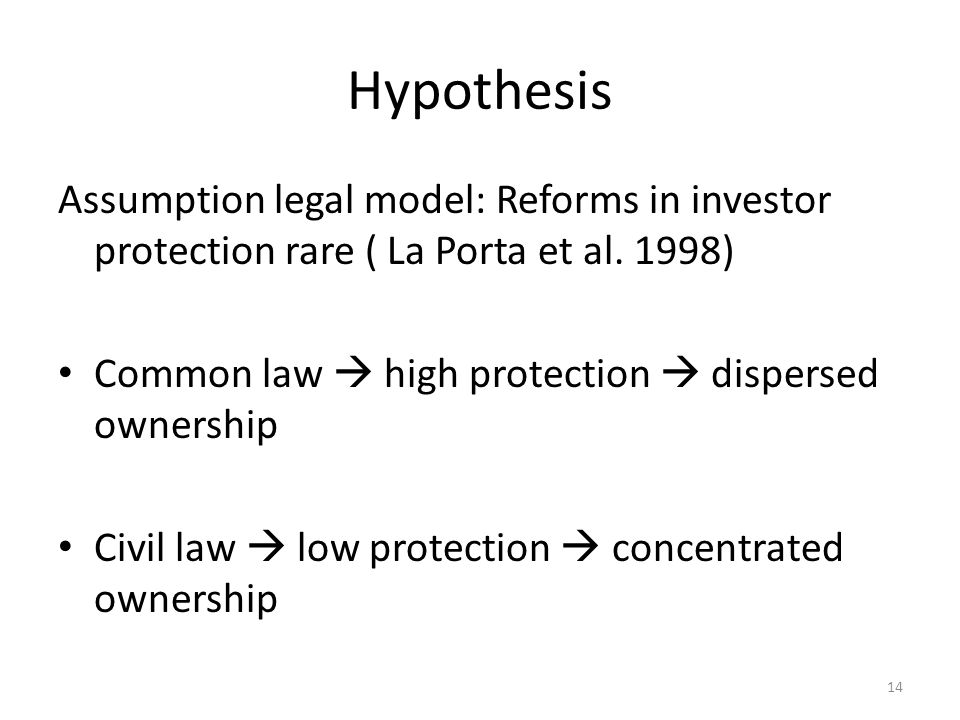 Hypothesis Assumption legal model: Reforms in investor protection rare ( La Porta et al. 1998) Common law  high protection  dispersed ownership.