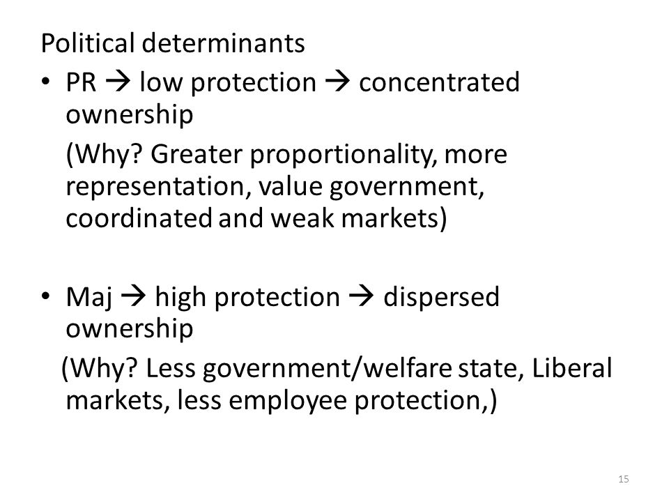 Political determinants PR  low protection  concentrated ownership