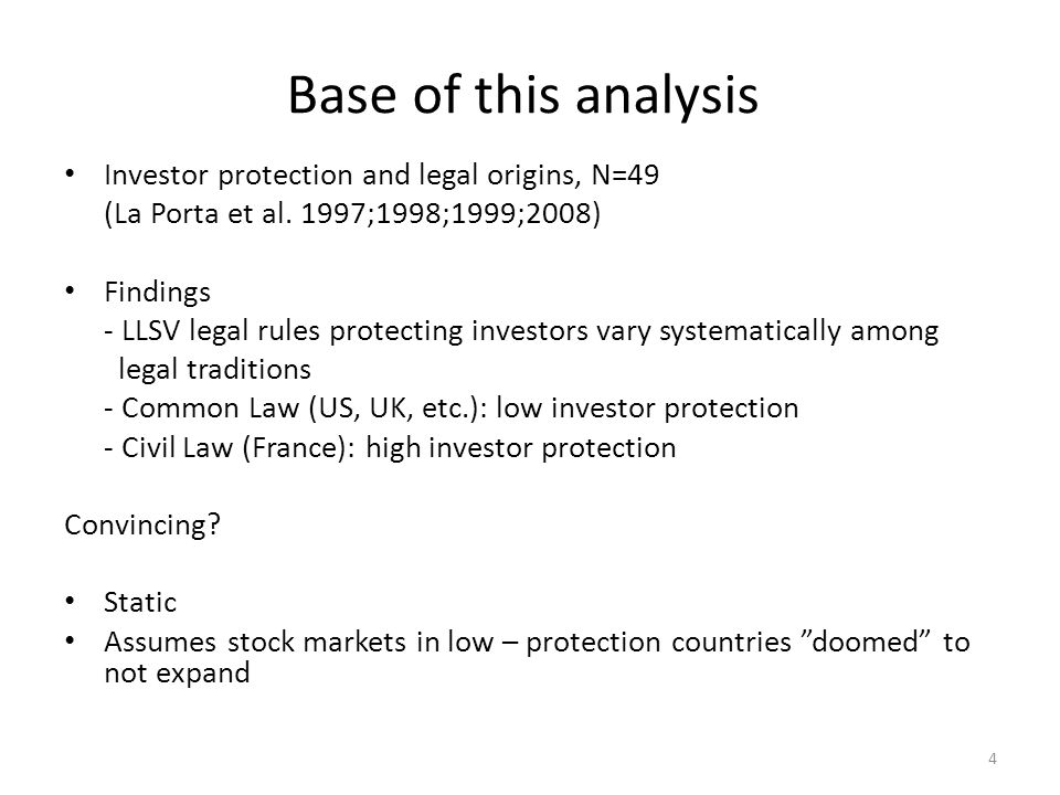 Base of this analysis Investor protection and legal origins, N=49