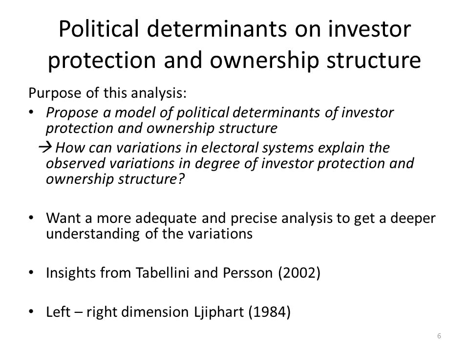 Political determinants on investor protection and ownership structure