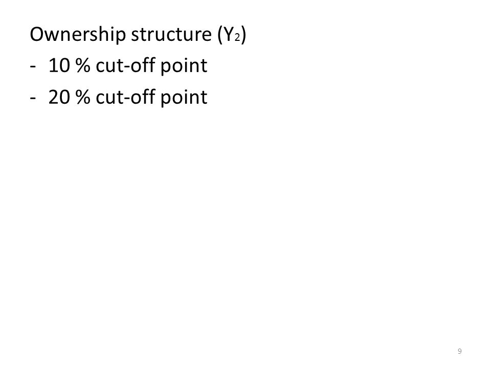 Ownership structure (Y2) 10 % cut-off point 20 % cut-off point