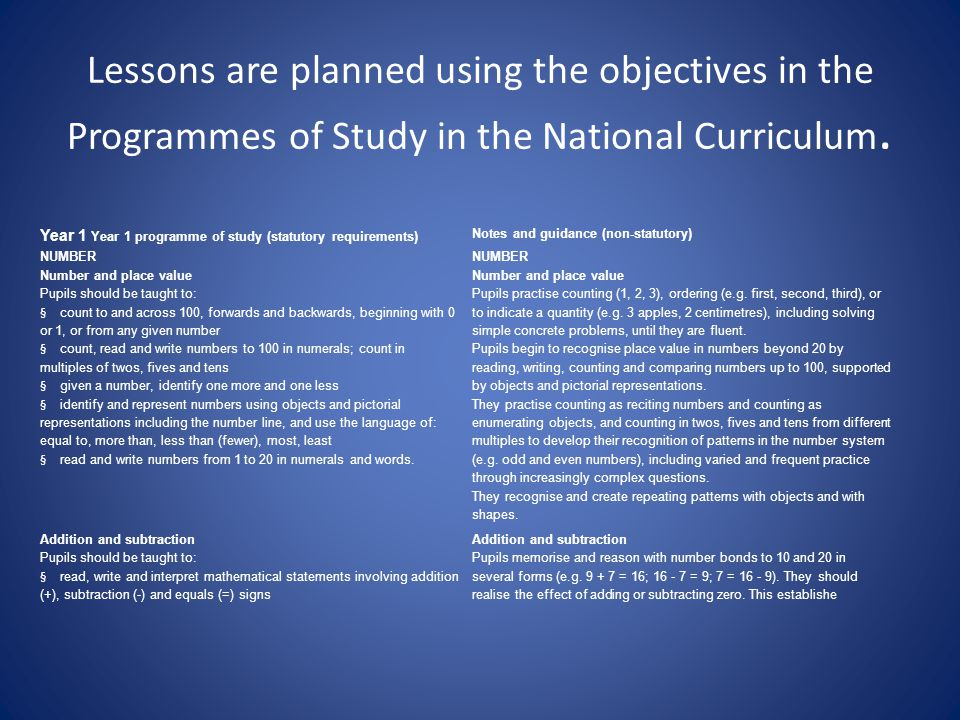 Lessons are planned using the objectives in the Programmes of Study in the National Curriculum.