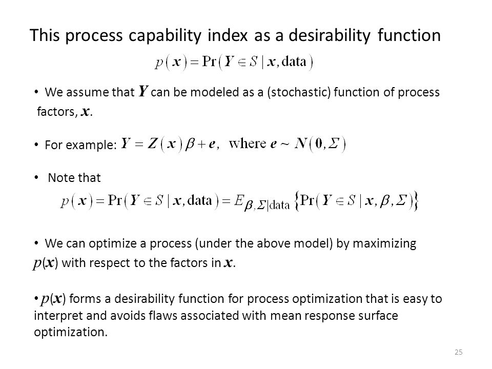 This process capability index as a desirability function