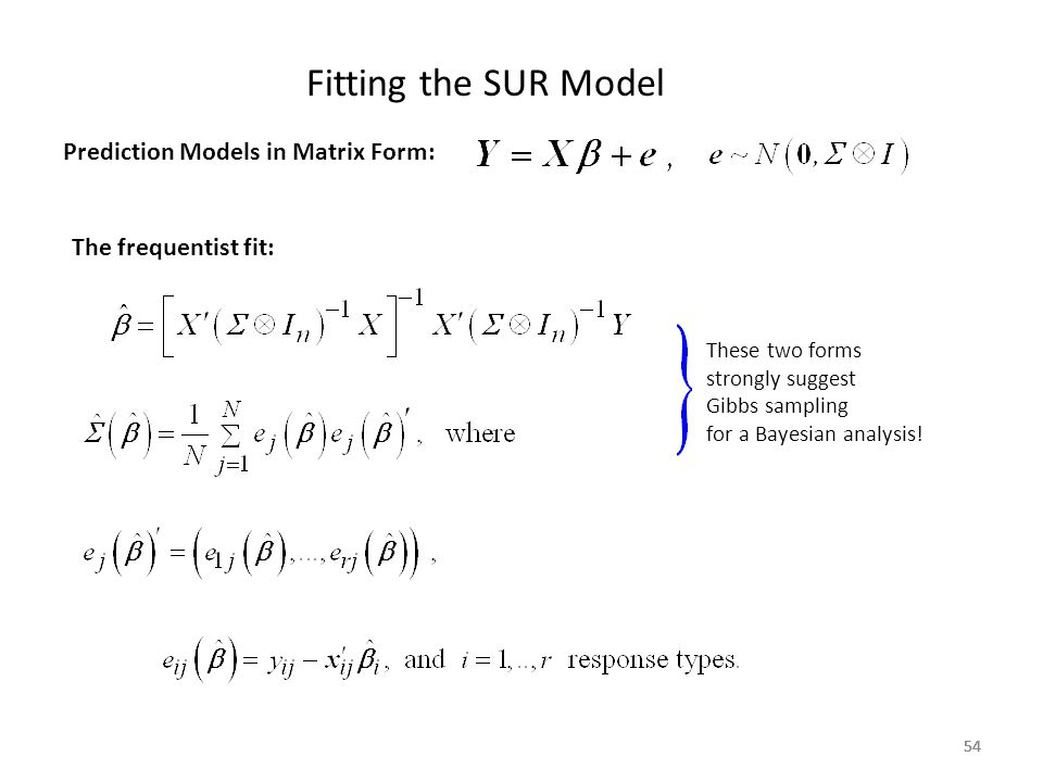 Fitting the SUR Model Prediction Models in Matrix Form: