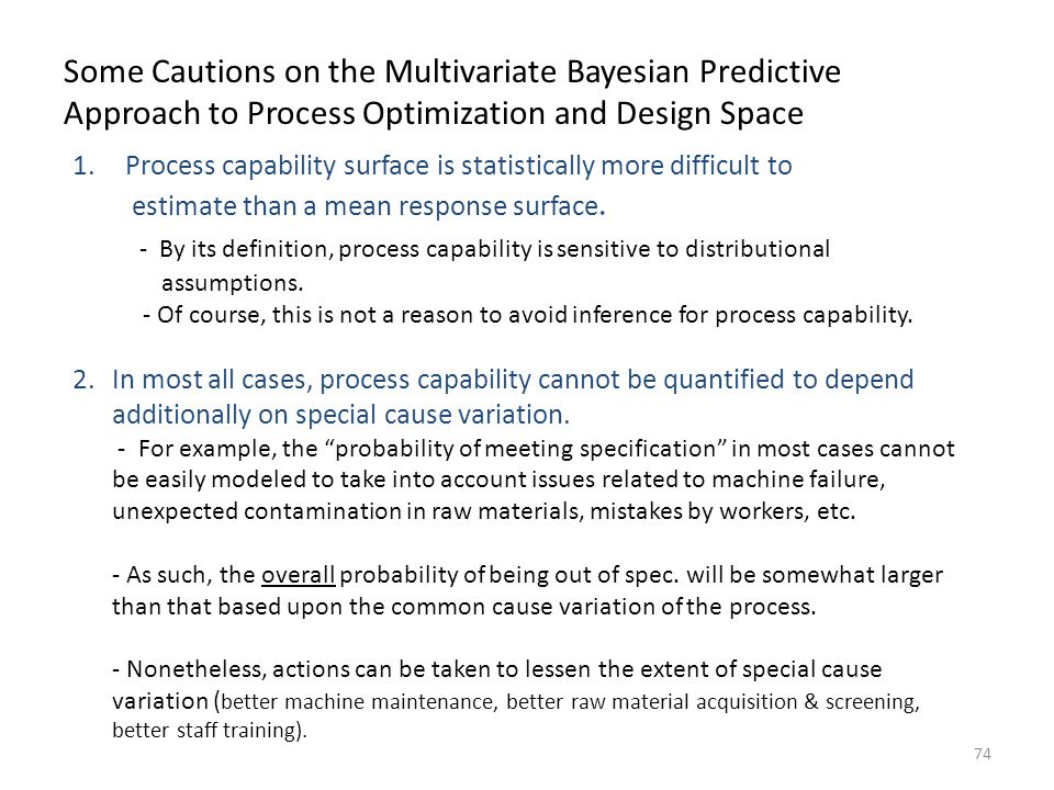 Some Cautions on the Multivariate Bayesian Predictive Approach to Process Optimization and Design Space