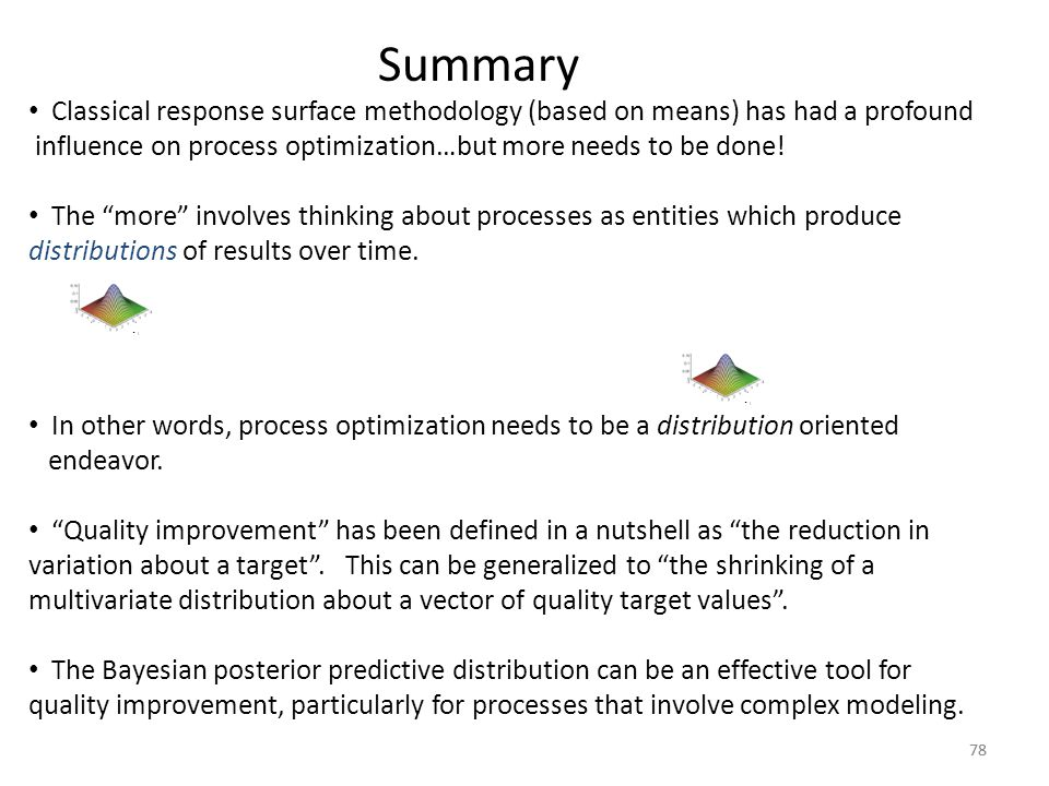 Summary Classical response surface methodology (based on means) has had a profound. influence on process optimization…but more needs to be done!