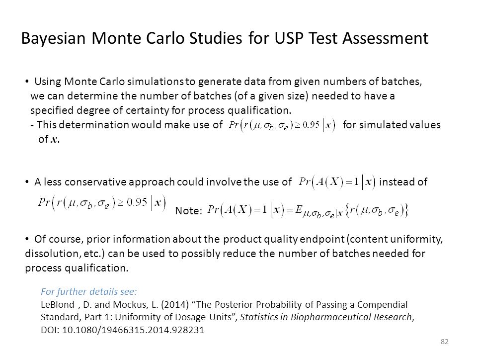 Bayesian Monte Carlo Studies for USP Test Assessment