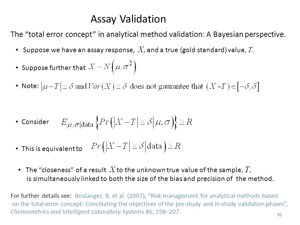 Assay Validation The total error concept in analytical method validation: A Bayesian perspective.