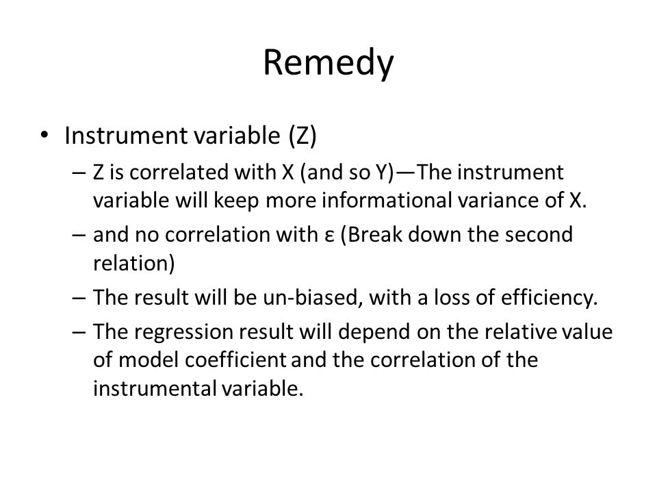 Remedy Instrument variable (Z)