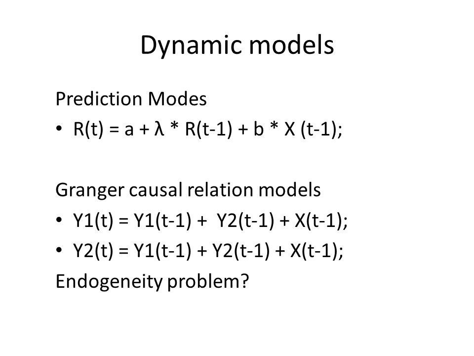 Dynamic models Prediction Modes R(t) = a + λ * R(t-1) + b * X (t-1);
