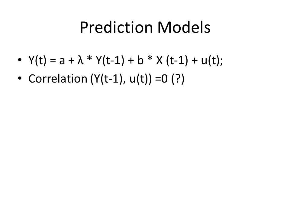 Prediction Models Y(t) = a + λ * Y(t-1) + b * X (t-1) + u(t);