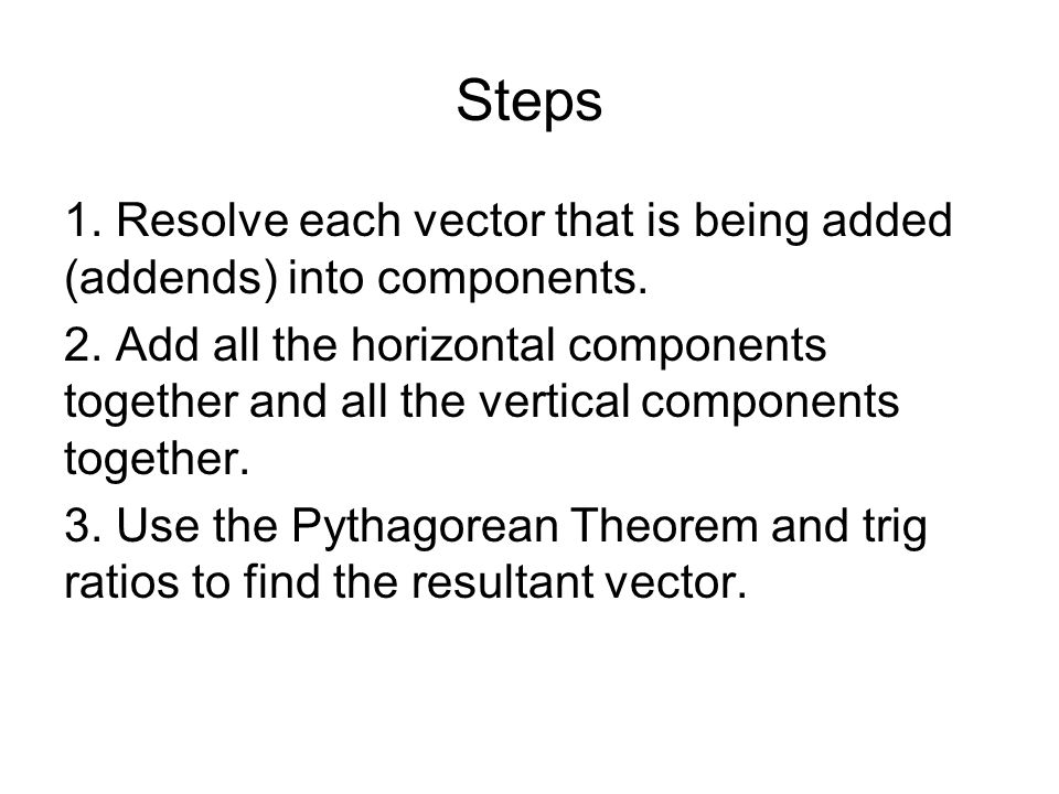 Steps 1. Resolve each vector that is being added (addends) into components.