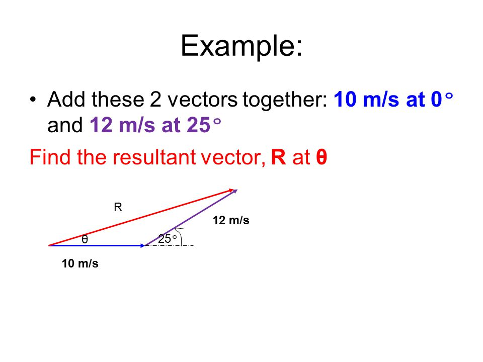 Example: Add these 2 vectors together: 10 m/s at 0º and 12 m/s at 25º