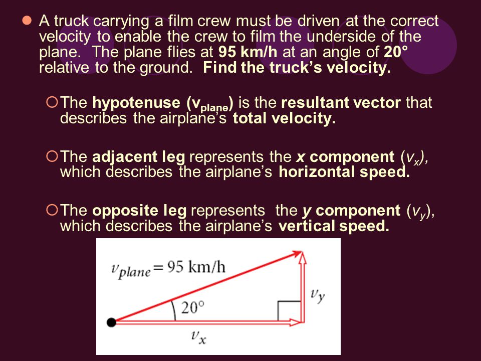 A truck carrying a film crew must be driven at the correct velocity to enable the crew to film the underside of the plane. The plane flies at 95 km/h at an angle of 20° relative to the ground. Find the truck's velocity.