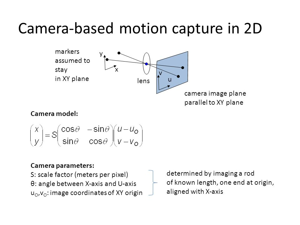 Camera-based motion capture in 2D