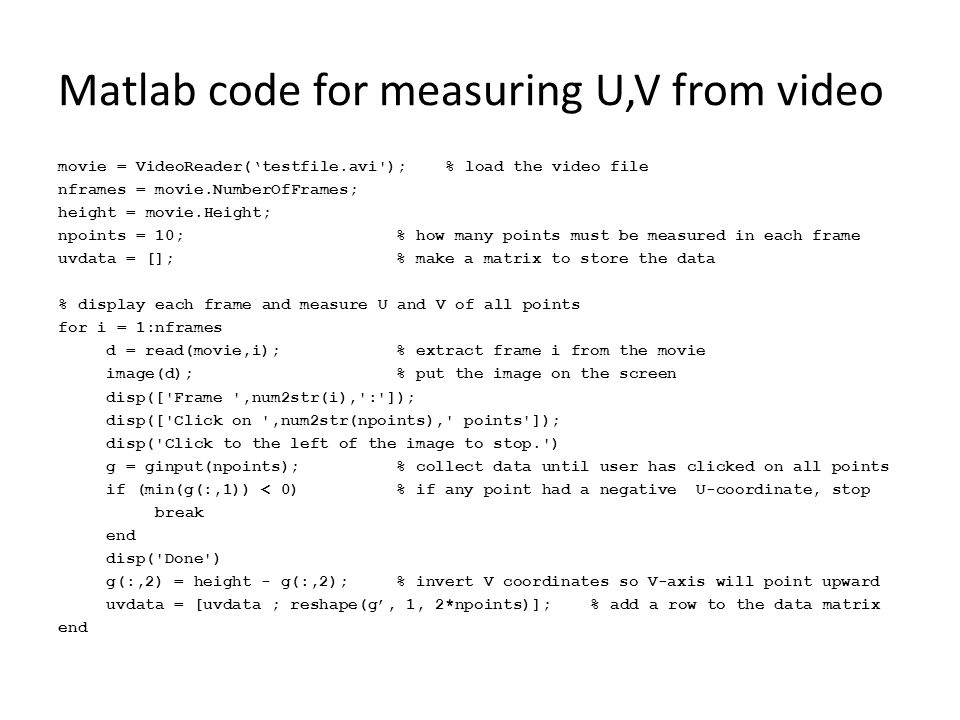 Matlab code for measuring U,V from video