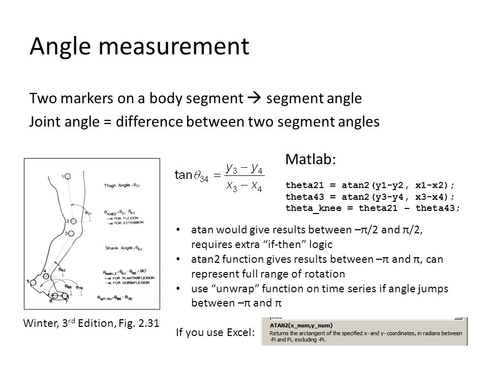 Angle measurement Two markers on a body segment  segment angle Joint angle = difference between two segment angles