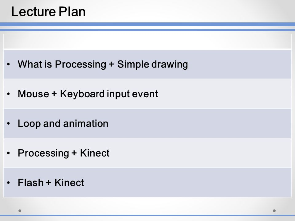 Lecture Plan What is Processing + Simple drawing