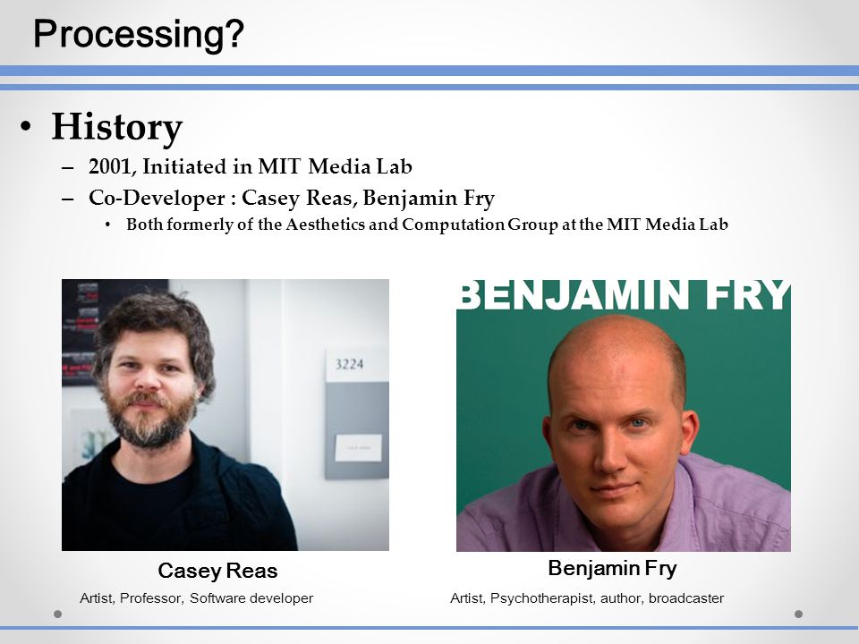 Processing History 2001, Initiated in MIT Media Lab
